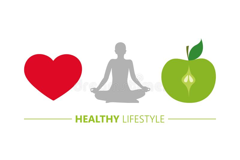 Healthy lifestyle concept heart yoga and green apple. Vector illustration EPS10 stock illustration