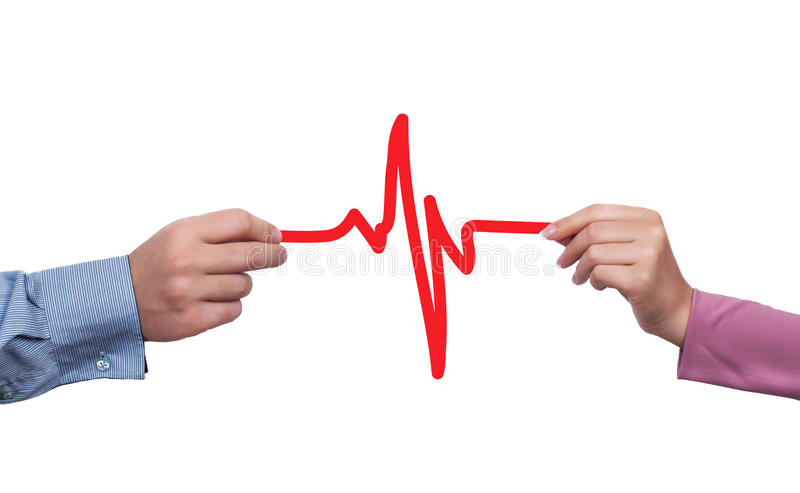 Healthy lifestyle concept. Human hands holding cardiogram as healthy lifestyle concept royalty free illustration