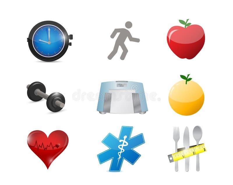 Healthy lifestyle concept icon set illustration. Design over white vector illustration
