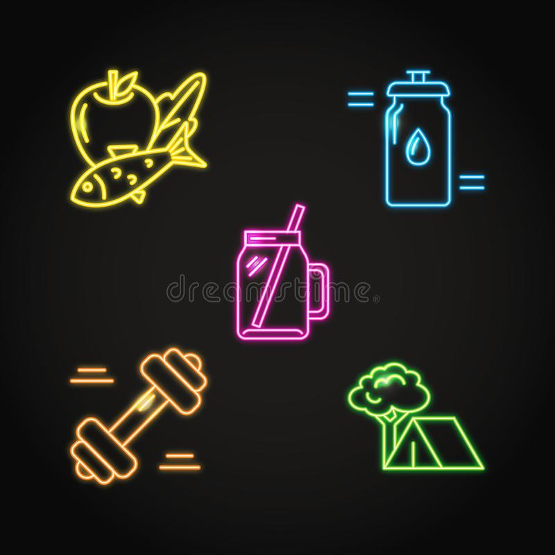 Healthy lifestyle concept icon set in neon style. Dieting and fitness symbols collection. Vector illustration stock illustration