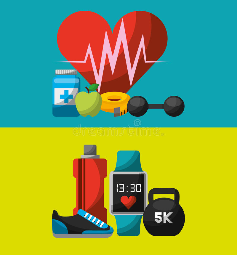 Healthy lifestyle concept icons. Vector illustration design royalty free illustration