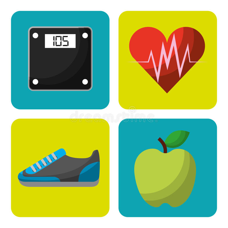 Healthy lifestyle concept icons. Vector illustration design stock illustration