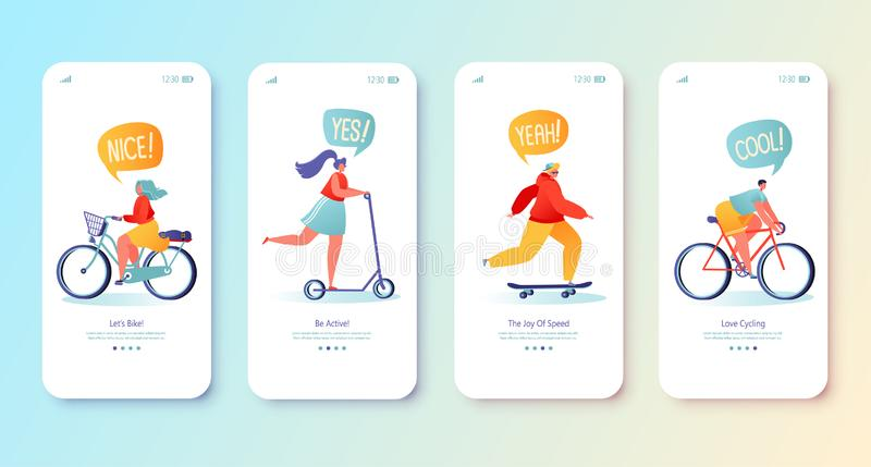 Healthy lifestyle concept for mobile app page, onboard screen set. Man and woman characters riding bicycle, scooter, skateboarding. Active, flat design people vector illustration