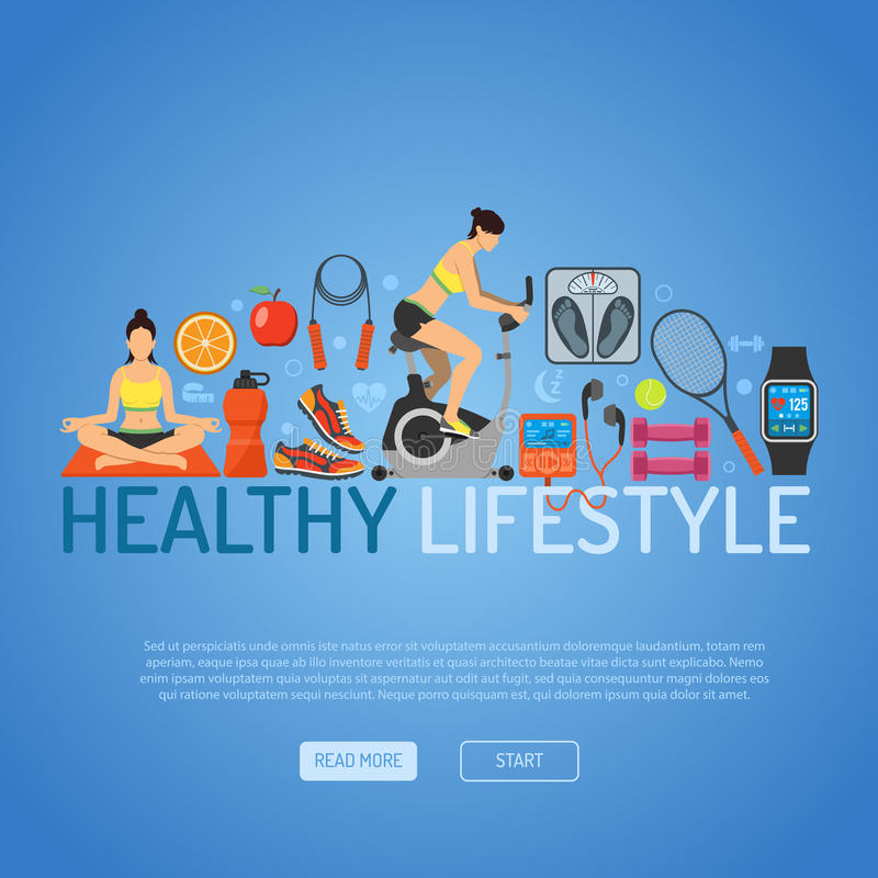 Healthy Lifestyle Concept. For Mobile Applications, Web Site, Advertising with Exercise Bike, Yoga, Scales and Gadgets Flat Icons stock illustration