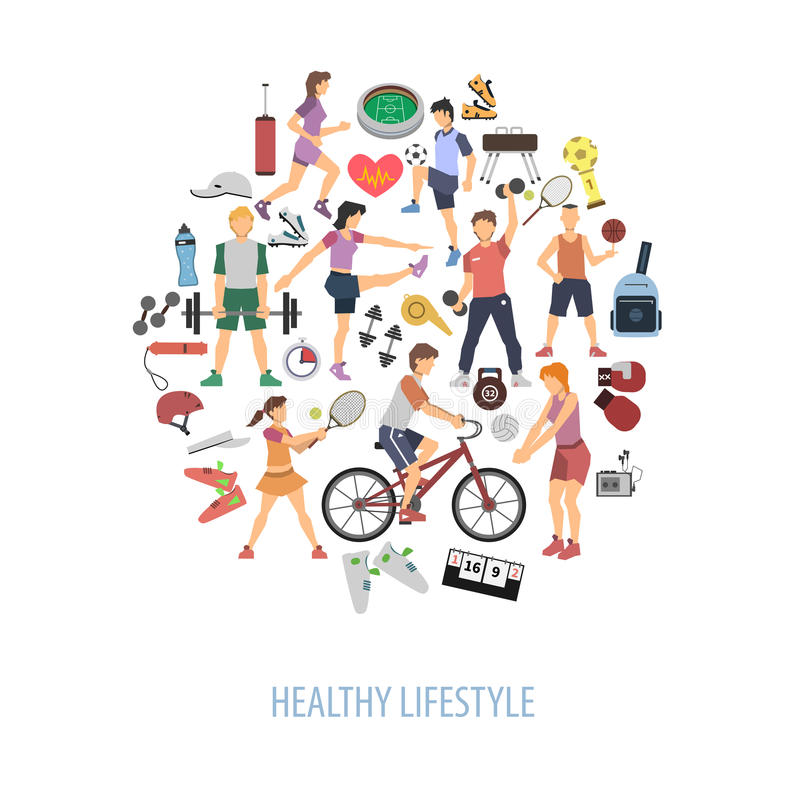Healthy Lifestyle Concept. With people playing sport games flat vector illustration vector illustration
