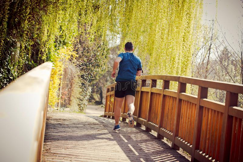 Healthy lifestyle concept. Rear view Male runner running in a city park over  bridge training for fitness. Healthy lifestyle concept. Workout jogging activity stock photo