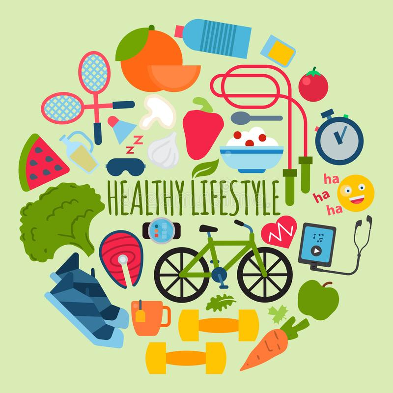 Healthy lifestyle concept round pattern vector illustration. Poster with sports equipment and healthy food. Diet and. Healthy lifestyle concept banner vector royalty free illustration