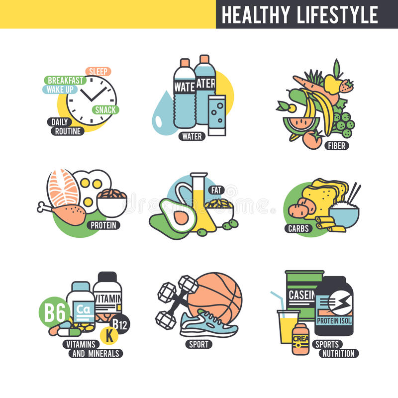 The healthy lifestyle concept. Set of icons on white background vector illustration