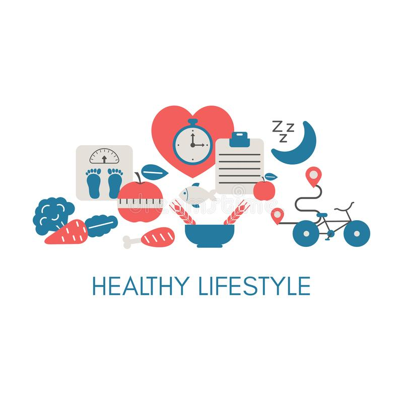 Healthy Lifestyle concept. With sport and diet icons. Trendy flat design stock illustration