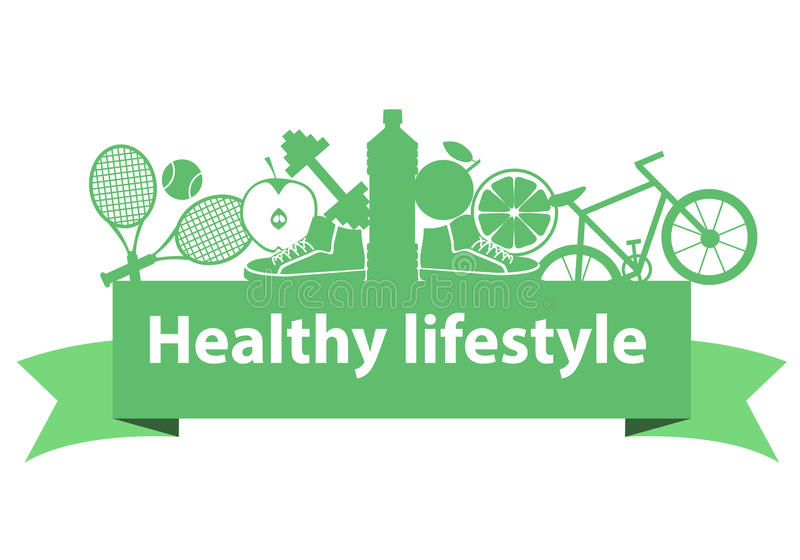 Healthy lifestyle concept. Sport equipment and food on the ribbon. Vector illustration royalty free illustration