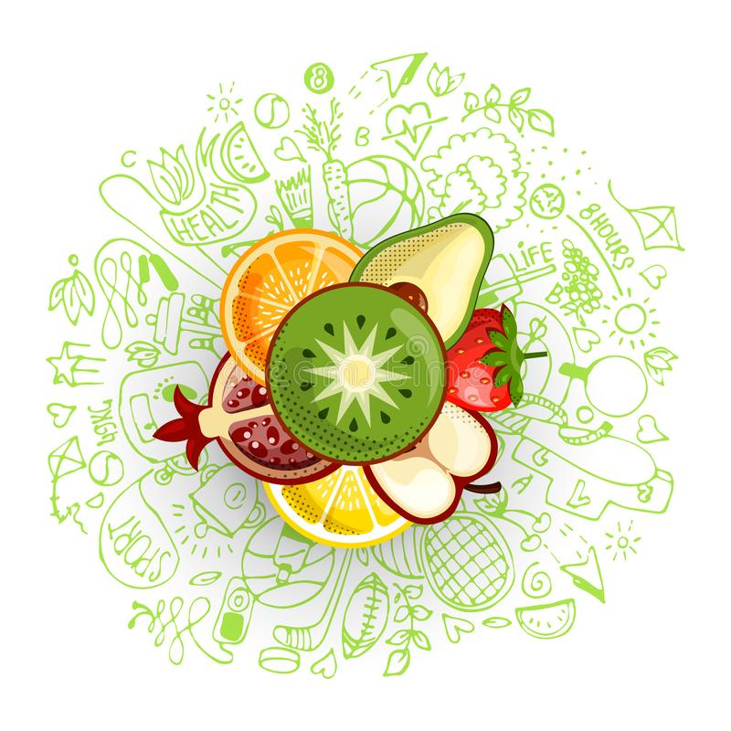 Healthy lifestyle concept with sport and healthy diet doodles and icons - sport, food, happy and normal sleep icons. Around fresh, juicy fruits on white vector illustration