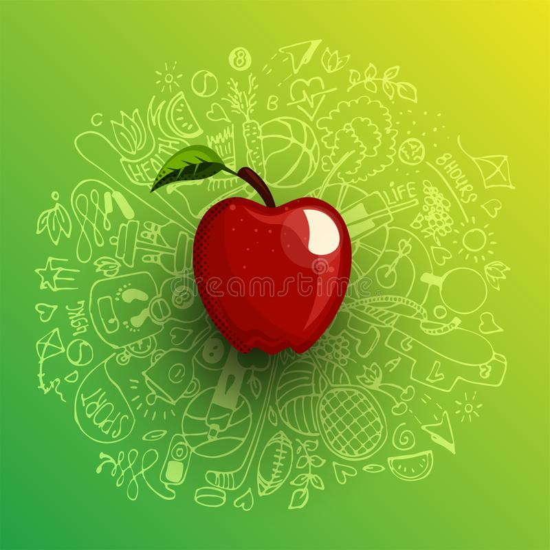 Healthy lifestyle concept with sport and healthy diet doodles and icons - sport, food, happy and normal sleep icons. Around fresh, juicy apple on white stock illustration