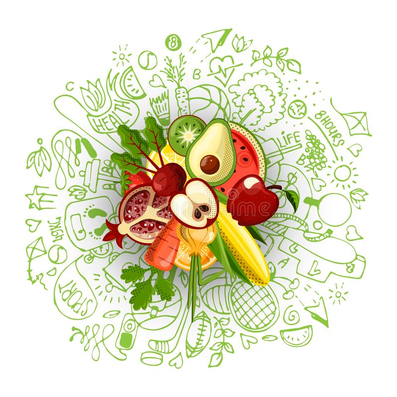Healthy lifestyle concept with sport and healthy diet doodles and icons - sport, food, happy and normal sleep icons. Around fresh, juicy fruits on white stock illustration