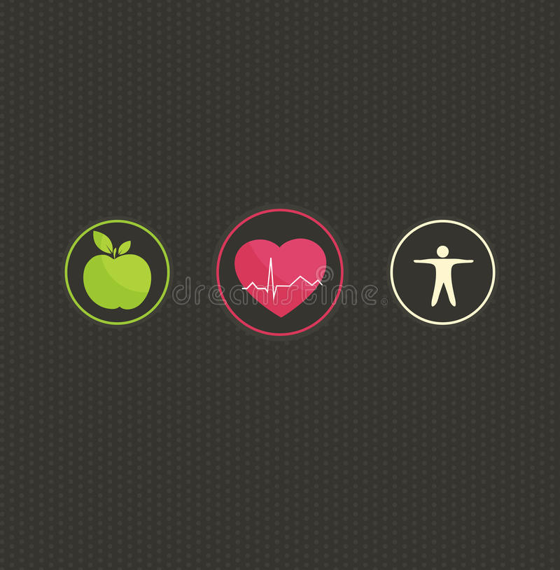 Healthy lifestyle concept symbol set. Healthy lifestyle concept illustration. Colorful symbol set on a dark dots background. Healthy food and fitness leads to stock illustration