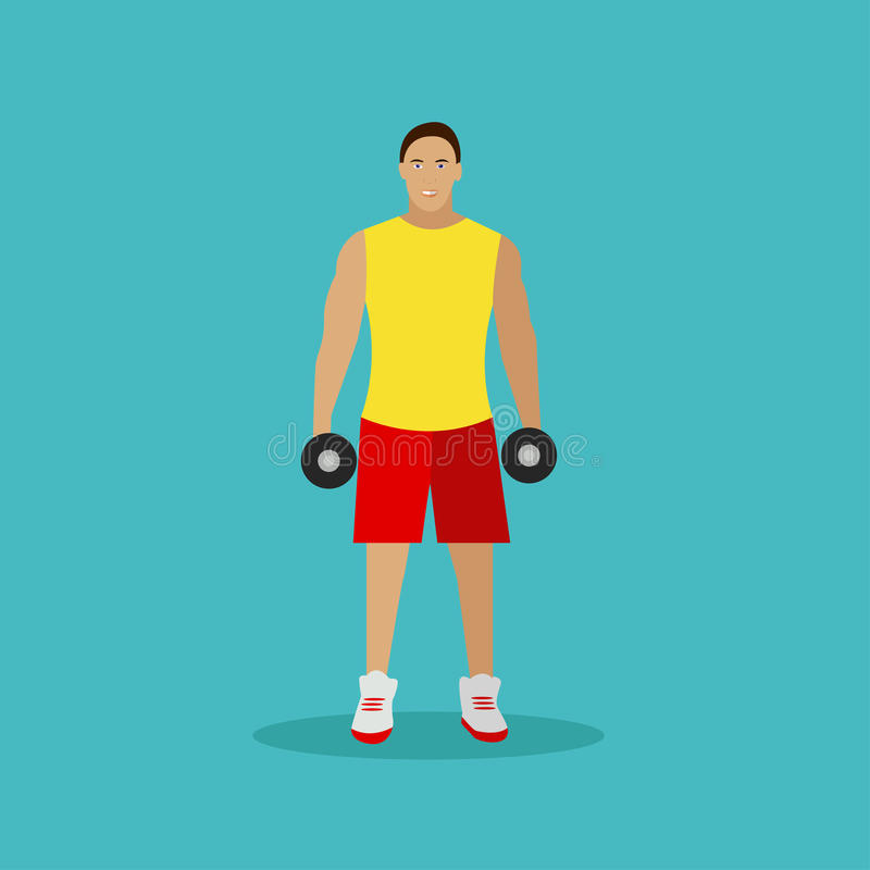 Healthy lifestyle concept vector illustration in flat style. Gym fitness and sport icons. Man with dumbbells. Healthy lifestyle concept vector illustration in royalty free illustration