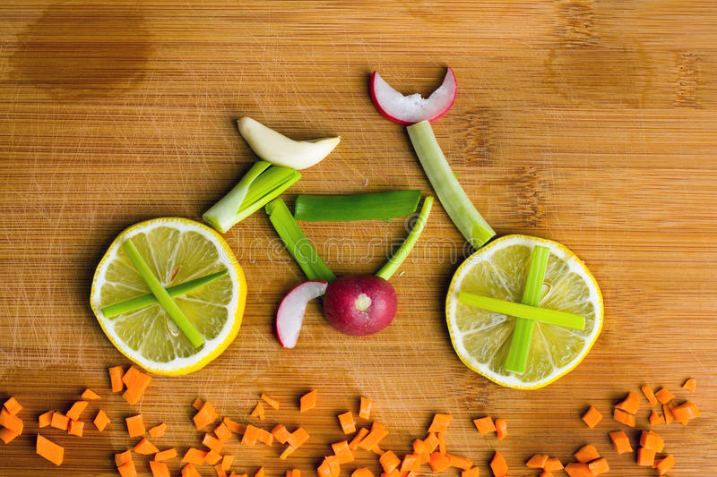 Healthy lifestyle concept - vegetable bike stock image