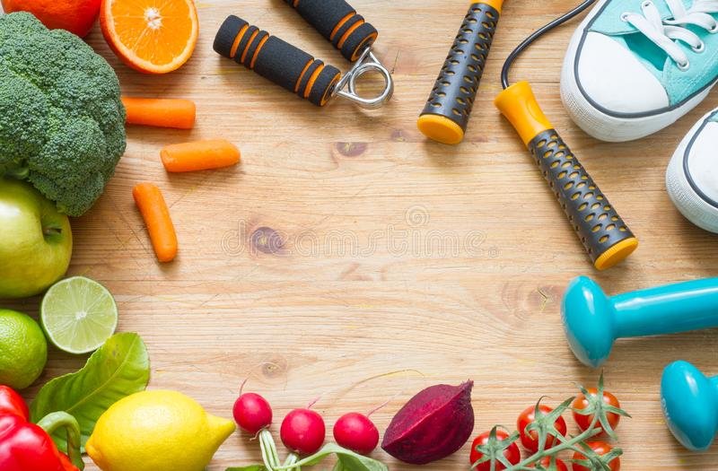 Healthy lifestyle concept with vegetarian food heart diet fitness and medicine. Abstract stock image