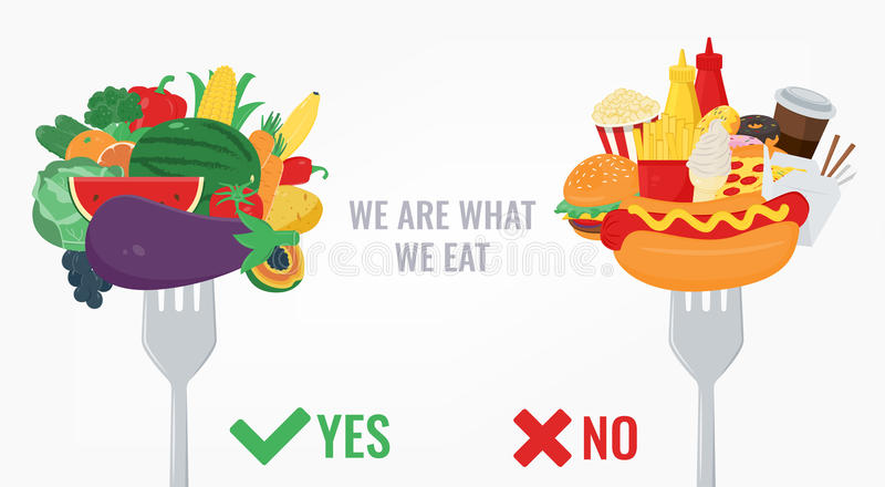 Healthy Lifestyle concept. We are what we eat. Vector. Illustration royalty free illustration