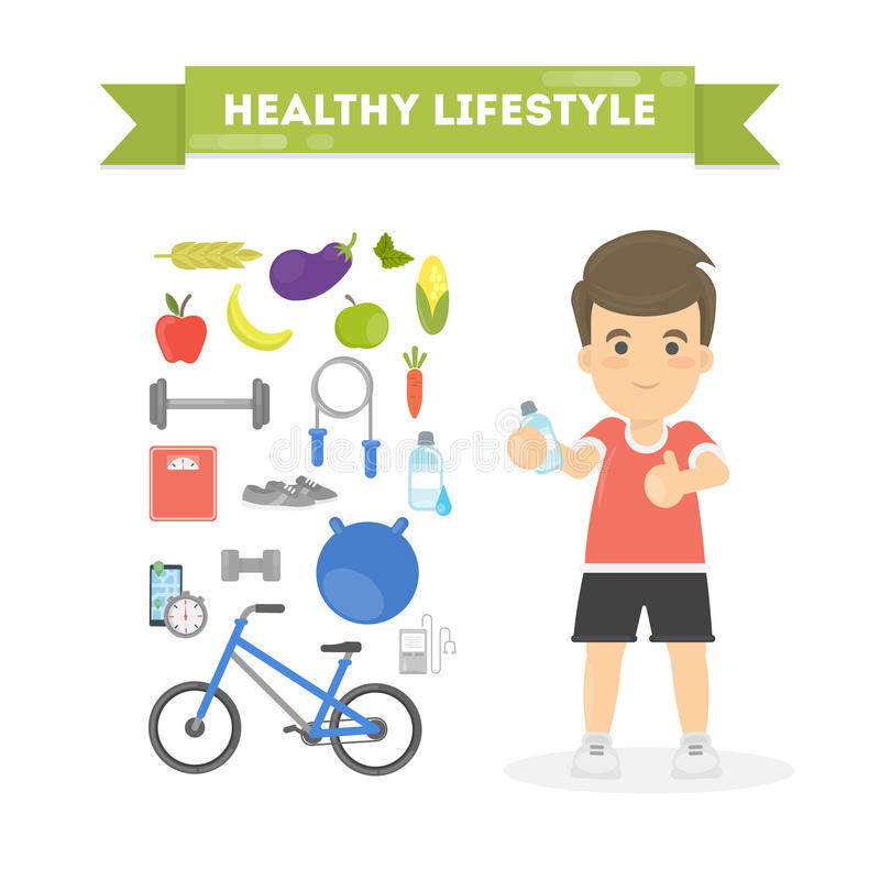 Healthy lifestyle concept. Healthy lifestyle concept on white background. Man with fresh food and active sport vector illustration
