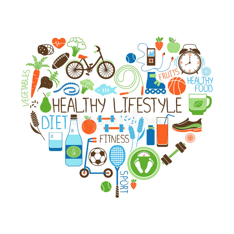 Healthy Lifestyle Diet and Fitness Heart sign royalty free illustration