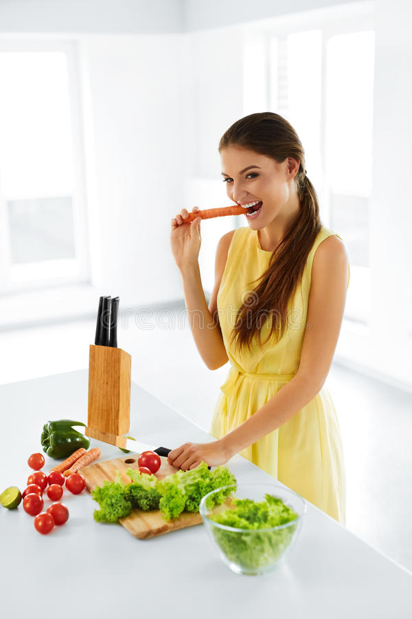 Healthy Lifestyle And Diet. Woman Preparing Salad. Healthy Food, Eating. stock images