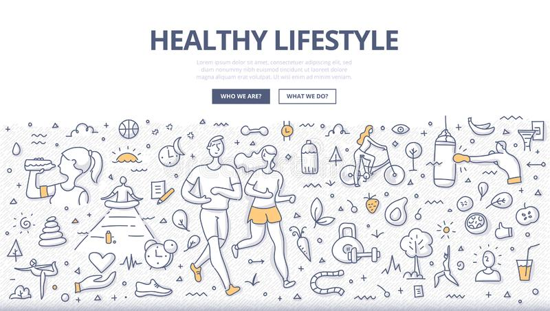 Healthy Lifestyle Doodle Concept. Concept of healthy lifestyle. Man and woman jogging together. Healthy nutrition, meditation, drinking water. Fitness & sport stock illustration
