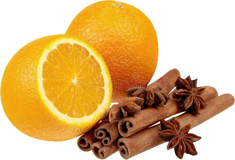 Close-up of fresh orange with cinnamon sticks stock photography