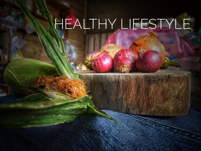 Healthy lifestyle by eating vegetable stock image