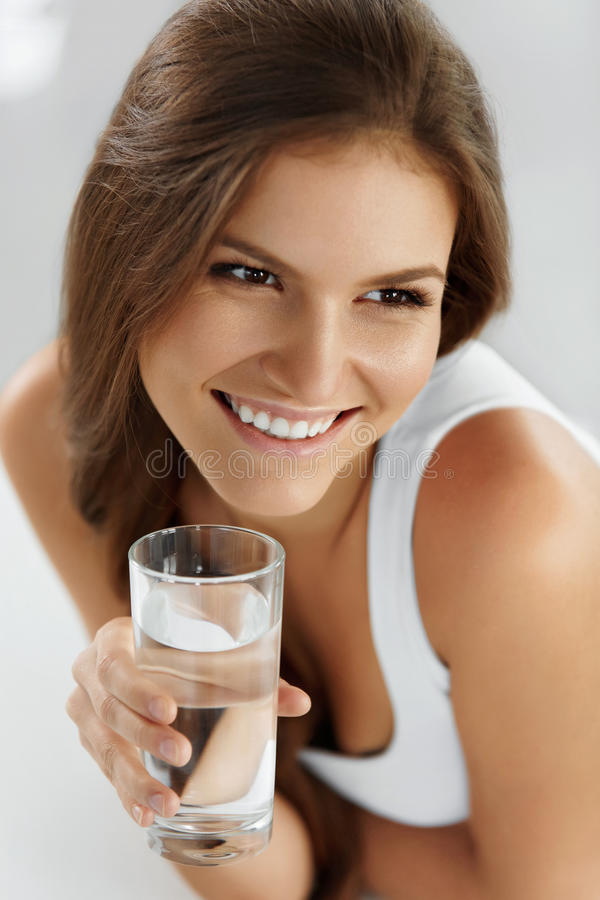 Healthy Lifestyle, Eating. Woman Drinking Water. Drinks. Health, Beauty, Diet. stock images