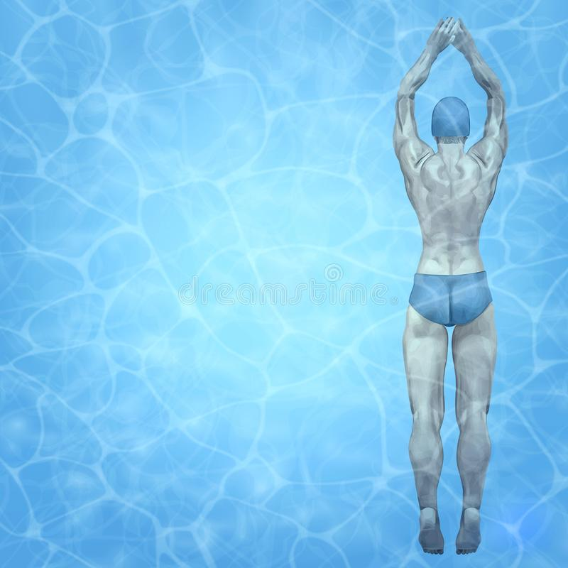 Healthy lifestyle. Fit swimmer training in the swimming pool. Professional male swimmer inside swimming pool. Texture of stock illustration
