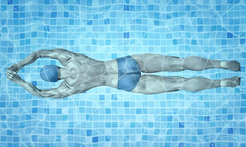 Healthy lifestyle. Fit swimmer training in the swimming pool. Professional male swimmer inside swimming pool. Texture of royalty free illustration