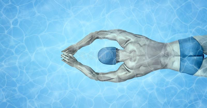 Healthy lifestyle. Fit swimmer training in the swimming pool. Professional male swimmer inside swimming pool. Texture of vector illustration
