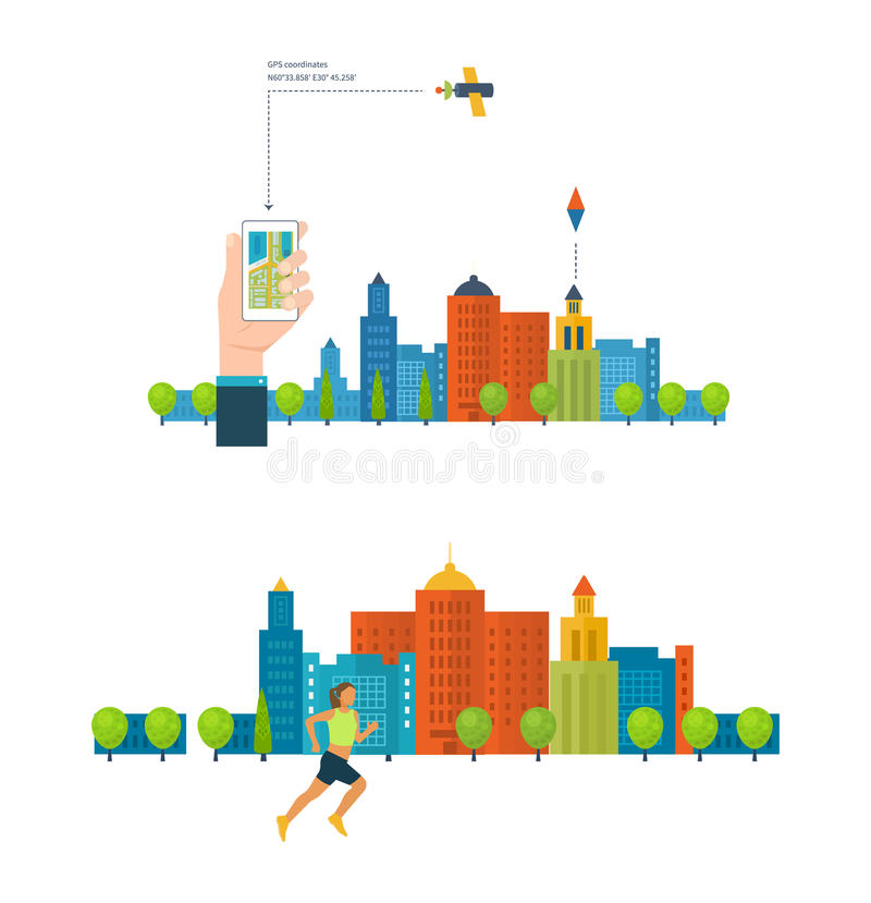 Healthy lifestyle, fitness and physical activity concept. Mobile navigation. vector illustration