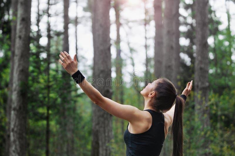 Healthy lifestyle fitness sporty runner enjoying start of the da stock images