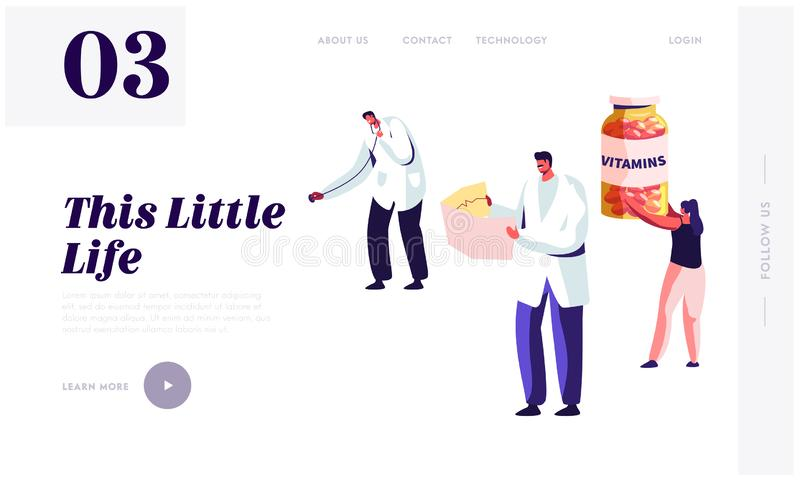 Healthy Lifestyle, Health Care Website Landing Page Template. Doctor Holding Stethoscope and Nurse Watching on Cardiogram. Woman with Vitamines Bottle Web Page vector illustration