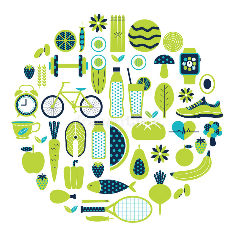 Healthy lifestyle icon set in green colour. Healthy lifestyle icon set in green and blue colours theme stock illustration