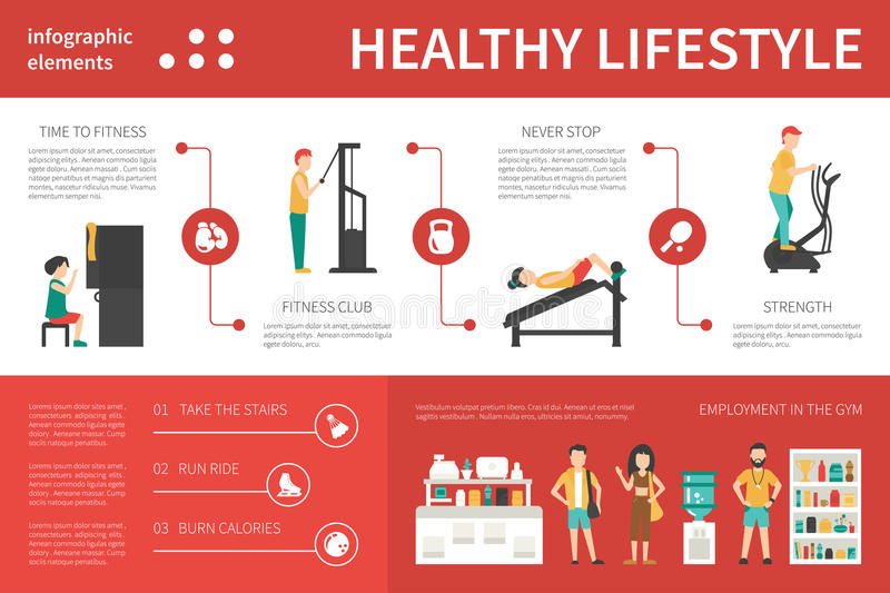 Healthy lifestyle infographic flat vector illustration. Presentation Concept. Healthy lifestyle infographic flat vector illustration. Editable Presentation vector illustration