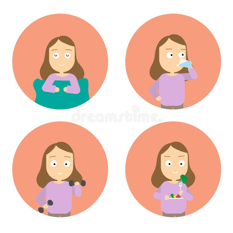 Healthy lifestyle infographic icon set. sleep well,drink water,exercise,eating healthy. royalty free illustration