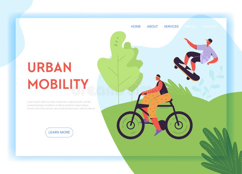 Healthy Lifestyle Landing Page Template. Active Characters Woman on Bicycle and Man on Skateboard in Park for Web Page. Healthy Lifestyle Landing Page Template vector illustration