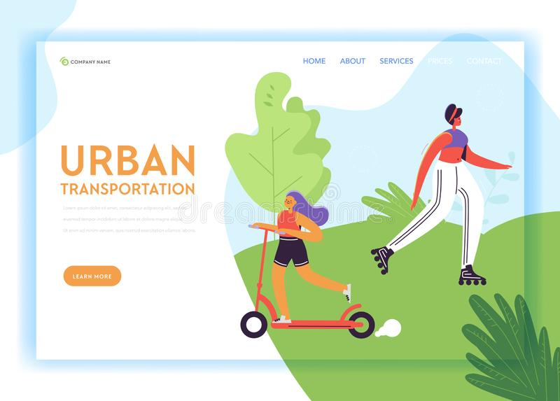 Healthy Lifestyle Landing Page Template. Active Characters Woman on Pushscooter and Roller Skating in Park for Web Page. Healthy Lifestyle Landing Page Template vector illustration