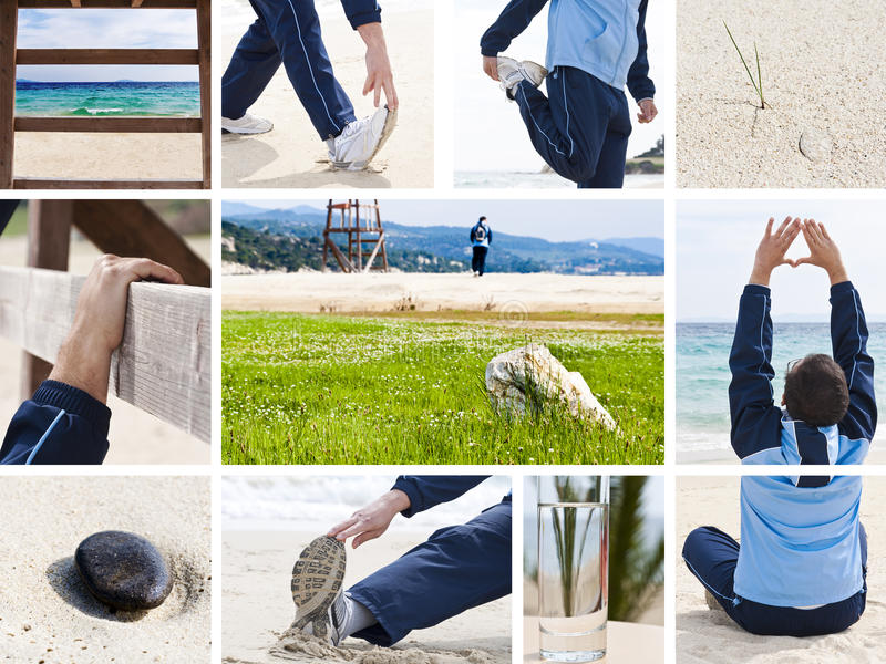 Healthy lifestyle and leisure collage. Man spending active free time outdoors with sports, stretching, yoga stock image