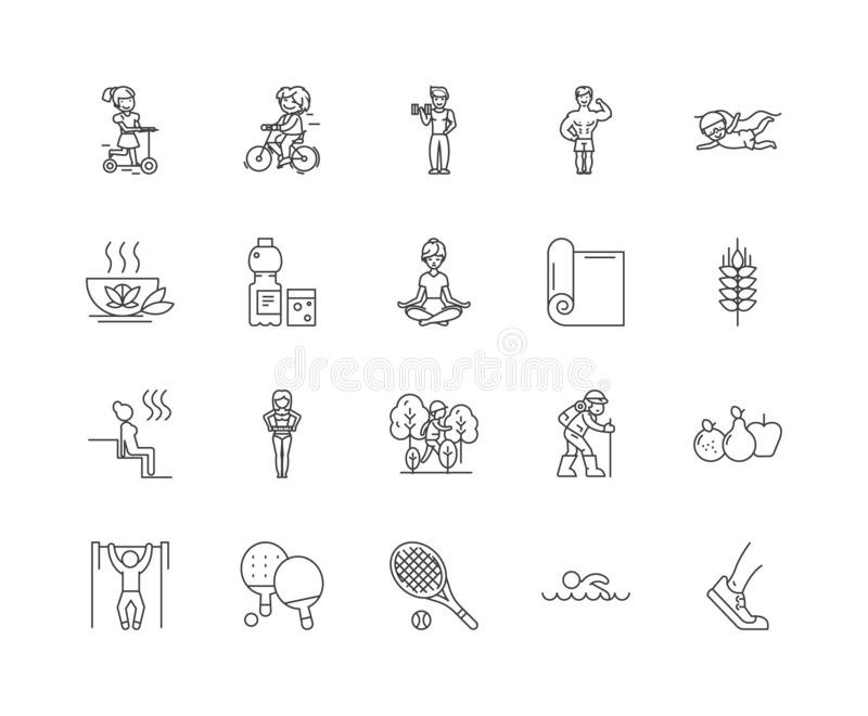 Healthy lifestyle line icons, signs, vector set, outline illustration concept. Healthy lifestyle line icons, linear signs, vector set, outline concept royalty free illustration