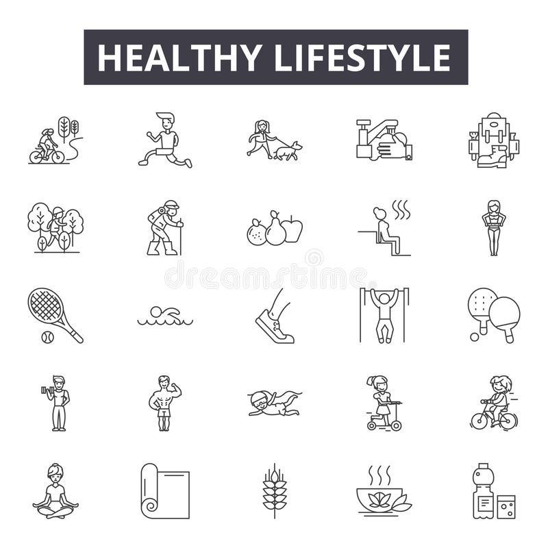 Healthy lifestyle line icons, signs, vector set, outline illustration concept. Healthy lifestyle line icons, signs, vector set, outline concept illustration royalty free illustration