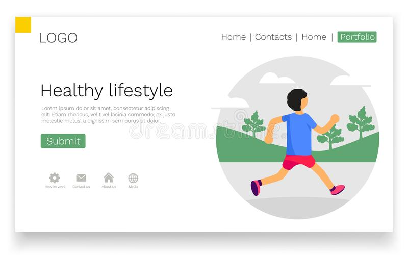 Healthy lifestyle. Man running in park. Banner, site, poster template. Landing webpage concept. Vector illustration stock illustration