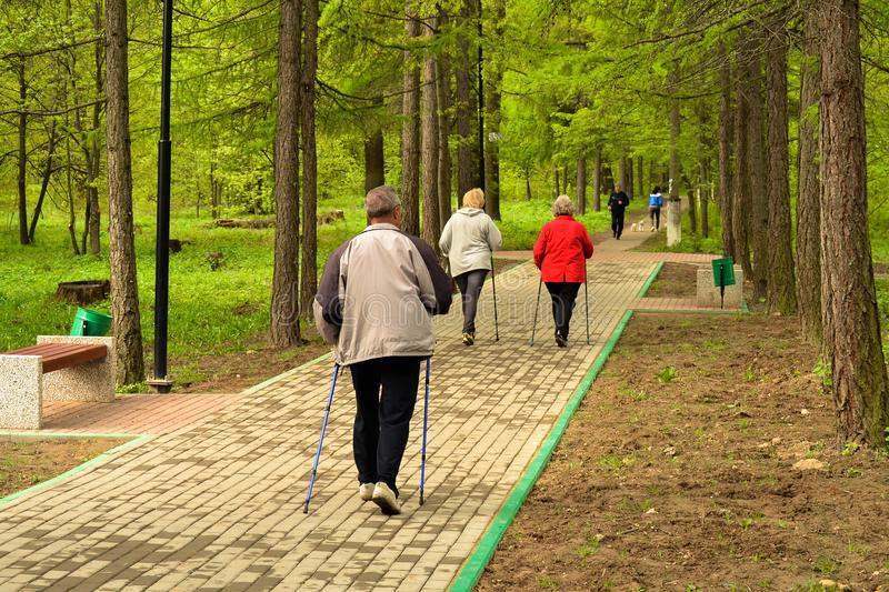 Healthy lifestyle. Nordic walking. Adult man and two women are engaged in athletic walking.  royalty free stock image
