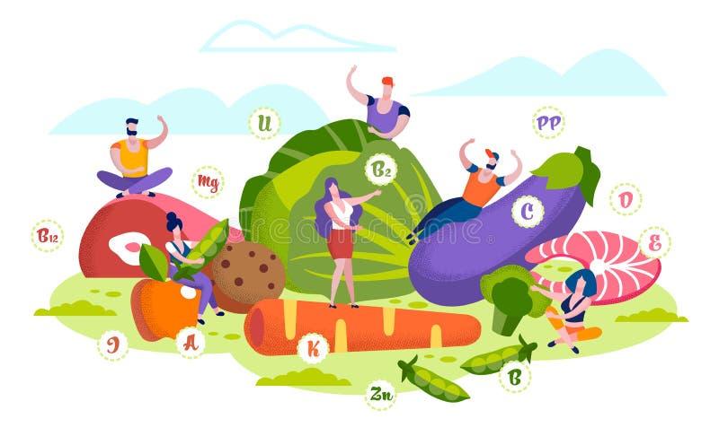 Healthy Lifestyle, Organic Food Choice, Vitamins royalty free illustration