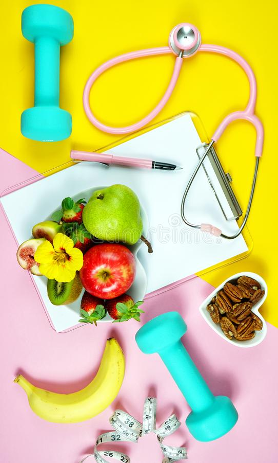 Healthy lifestyle prescription for good health concept flatlay. stock photo
