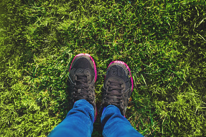 Healthy lifestyle runner girl running shoes selfie. Healthy lifestyle sporty female athlete. royalty free stock images