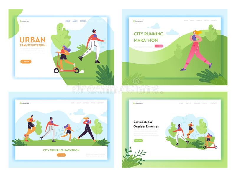 Healthy Lifestyle Running People Landing Page Template. Sports and Recreation Concept with Man and Woman Character Run. In Park for Website or Web Page. Vector royalty free illustration