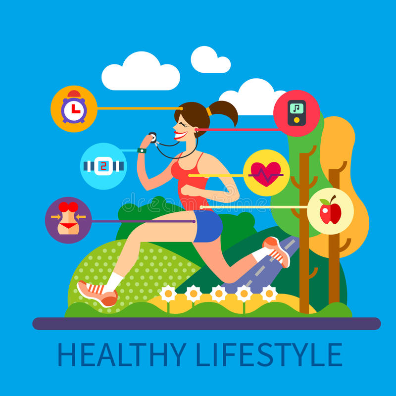 Healthy lifestyle and sport royalty free illustration